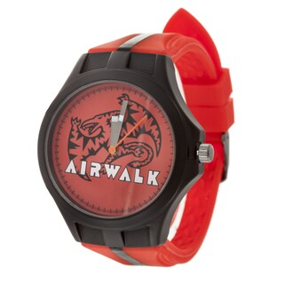 Airwalk Analog Black Case and Logo on Dial with Red & Black Silicone Strap Watch