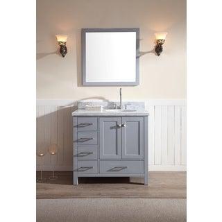 ARIEL Cambridge 37 Inch Single Right Offset Sink Grey Vanity Set