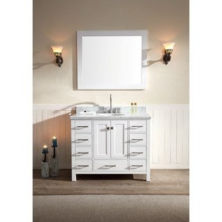 ARIEL Cambridge 43 Inch Single Sink White Vanity Set