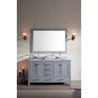 ARIEL Cambridge 61-inch Double-sink Grey Vanity Set