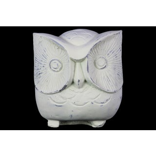 Urban Trends Owl Distressed White Cement Figurine
