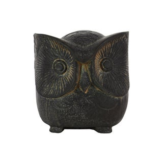 Urban Trends Owl Matte Black Finish Cement Figurine