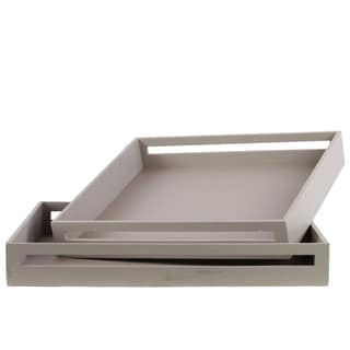 Urban Trends Square Grey Wood Serving Tray (Set of 2)