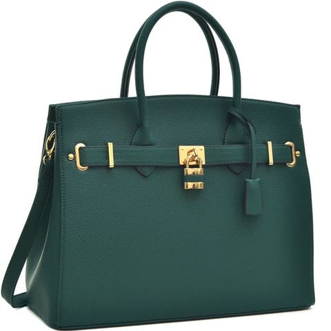 Dasein Faux Leather Work Satchel with Padlock