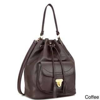 Dasein Front Pocket Convertible Drawstring Hobo Handbag