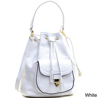 Dasein Faux Leather Front-pocket Convertible Drawstring Hobo Handbag (Option: White)