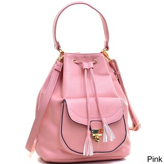 Dasein Faux Leather Front-pocket Convertible Drawstring Hobo Handbag