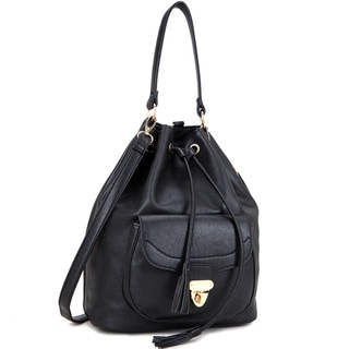 Dasein Front Pocket Convertible Drawstring Bag Hobo Bag