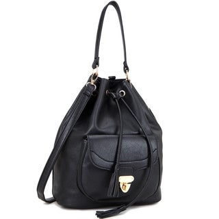 Dasein Front Pocket Convertible Drawstring Hobo Handbag
