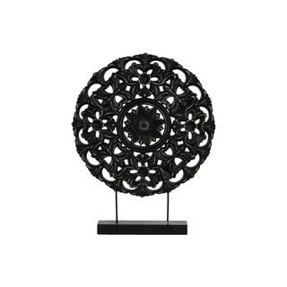 Urban Trends Matte Black Wood Buddhist Dharmachakra Wheel Ornament