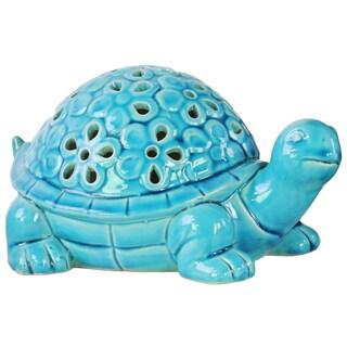 Urban Trends Galapagos Tortoise with Cutouts Gloss Blue Ceramic Figurine