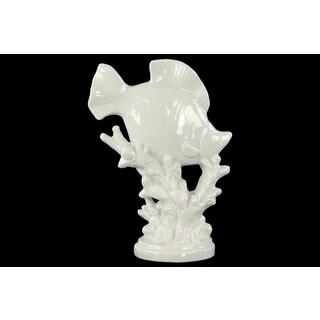 White Gloss Ceramic Fish Figurine on Seaweed Pedestal