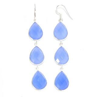 Sterling Silver Pear-Cut Blue Chalcedony Triple Drop Earrings
