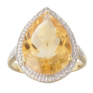 18KT Yellow Gold Over Sterling Silver 6.78cttw Citrine Tear Drop Solitaire Ring