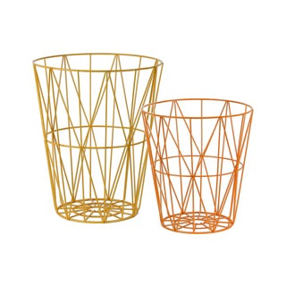 Urban Trends Round Interwoven Amber and Orange Metal Baskets (Set of 2)