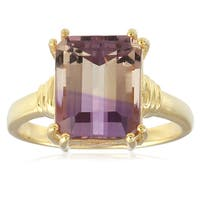 18KT Yellow Gold Over Sterling Silver 4.35cttw Ametrine Solitaire Ring
