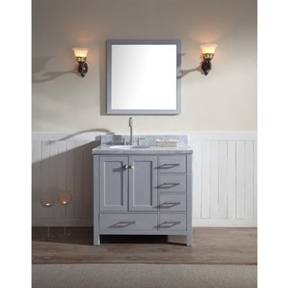 Cambridge 37-inch Single Sink Vanity Set with Left Offset Sink in Grey