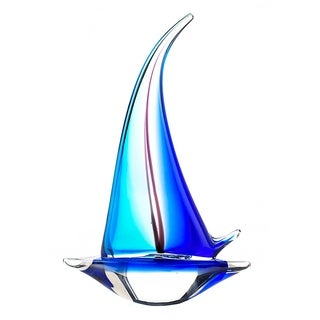 Nautical Sailboat Art Glass Sculpture
