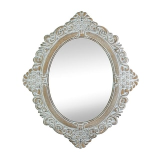 Antique-Style Taupe Oval Wall Mirror