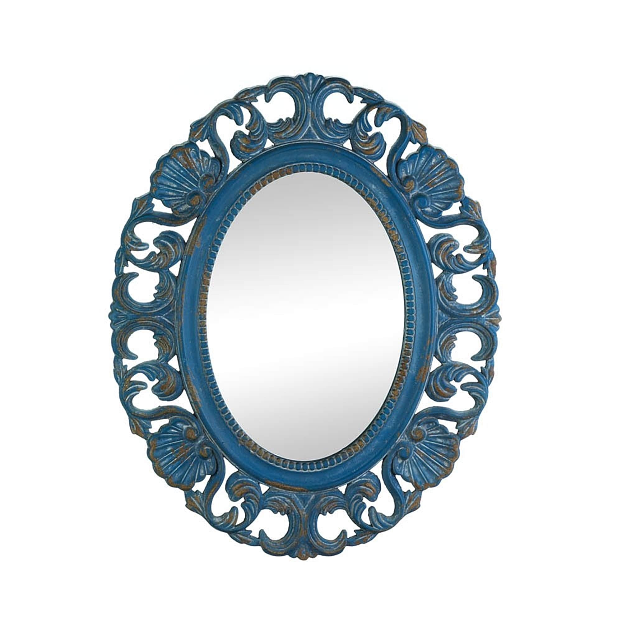 Antique-Style Blue Oval Wall Mirror, Blue/Brown