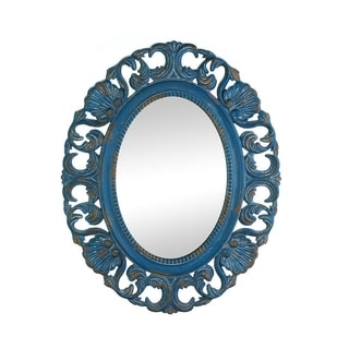 Antique-Style Blue Oval Wall Mirror