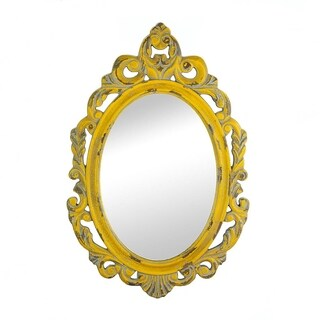 Antique-Style Yellow Oval Wall Mirror - Brown/Gold