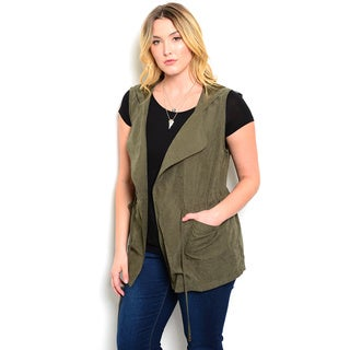 Shop the Trends Women's Plus Size Sleeveless Drawstring Waist Suede Vest