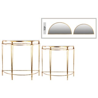 Antique Gold Coated Finish Metal Half Moon Nesting Console with Mirror Top Table (Set of 2)