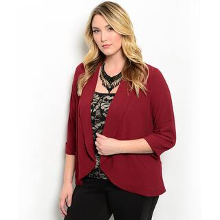Shop the Trends Women's Plus Size 3/4 Sleeve Woven Open Blazer|https://ak1.ostkcdn.com/images/products/11018032/P18034691.jpg?impolicy=medium