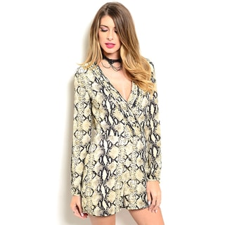 Shop the Trends Women's Long Sleeve Allover Snake Print Romper