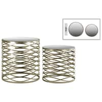 Metallic Champagne Finish Metal Round Nesting Accent Table with Mirror Top and Criss-cross Design (Set of 2)