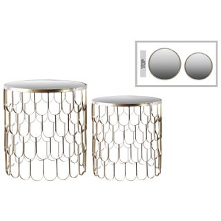 Metallic Champagne Finish Metal Round Nesting Accent Table with Mirror Top and Teardrop Design (Set of 2)