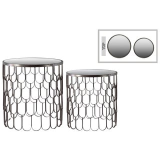 Metallic Gunmetal Silver Finish Metal Round Nesting Accent Table with Mirror Top and Teardrop Design (Set of 2)