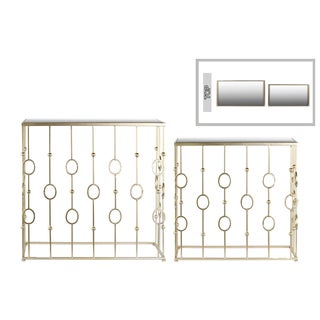 Metallic Champagne Finish Metal Rectangular Nesting Console Table with Mirror Top (Set of 2)