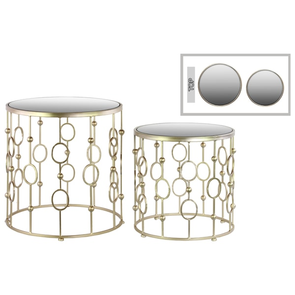 Metallic champagne finish metal round nesting accent table