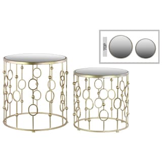 Metallic Champagne Finish Metal Round Nesting Accent Table with Mirror Top Suspended Ring Design (Set of 2)