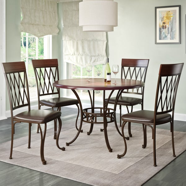 CorLiving Jericho 5 Piece Metal And Warm Stained Wood Dining Set