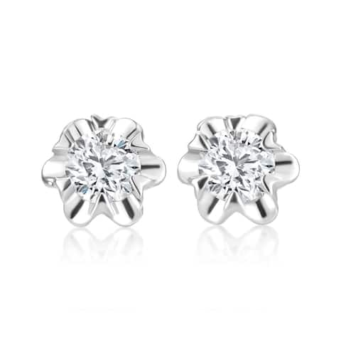 SummerRose 14k White Gold 1/2ct TDW Diamond Stud Flower Earrings