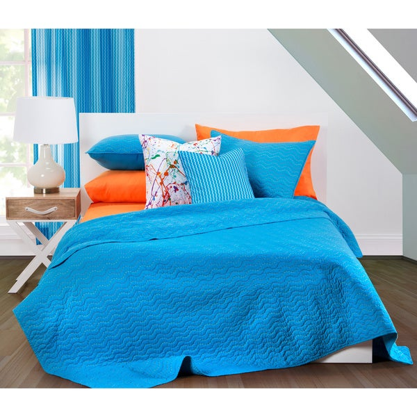 Crayola Stitched Cerulean Quilted 3-piece Coverlet Set