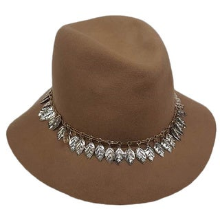 Hatch Women's Metal Chain/ Leaves Wool Felt Fedora Hat