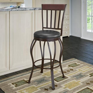 CorLiving Jericho Metal Bar Height Barstool with Glossy Dark Brown Bonded Leather Seat