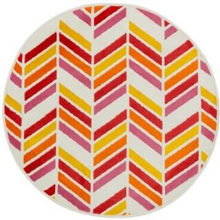 Amelia Ivory/ Pink Chevron Rug (3'0 x 3'0)