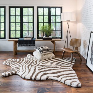 Hand Tufted Kingdom Faux Zebra Shag Rug (3u00276 X ...