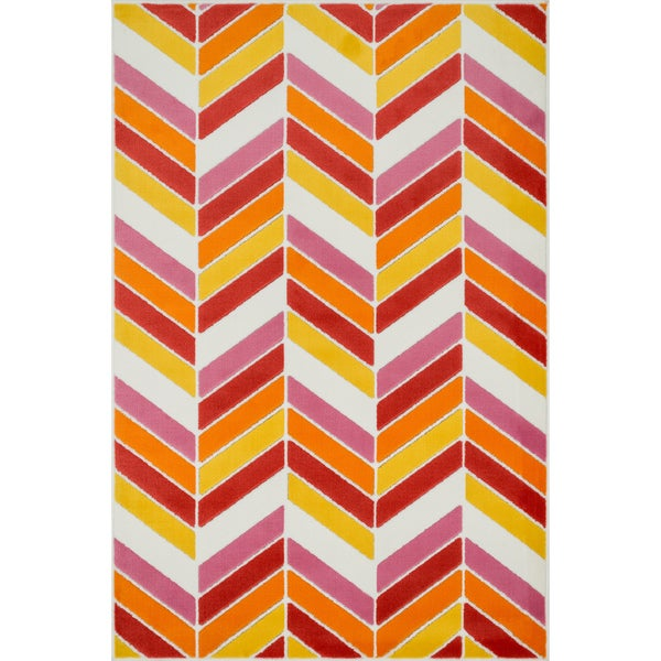 Amelia Ivory/ Pink Chevron Rug (4'4 x 6'7)
