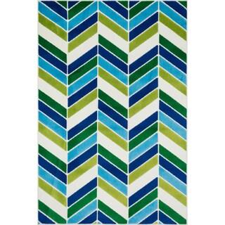 Amelia Ivory/ Blue Chevron Rug (2'7 x 3'11)