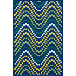 "Amelia Blue/ Multi Wave Rug (2'7 x 3'11) - 2'7"" x 3'11"""