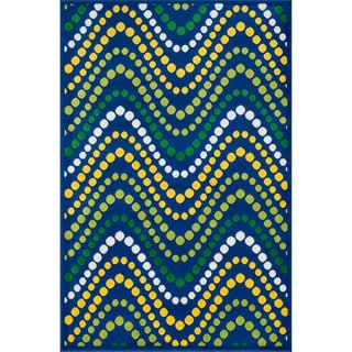 Amelia Blue/ Multi Wave Rug (4'4 x 6'7)