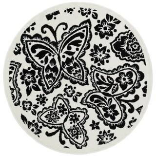 Amelia Ivory/ Black Butterfly Rug (3'0 x 3'0)
