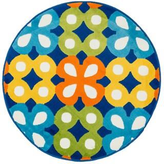 Amelia Blue/ Multi Flower Rug (3'0 x 3'0)