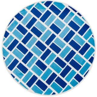 Amelia Ivory/ Blue Block Rug (3'0 x 3'0)